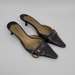 Givenchy Kitten Heel Black Leather Mules 37